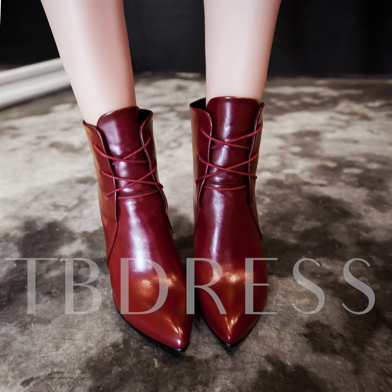 Short Floss High Heel Solid Lace Up Women's Ankle Boos
