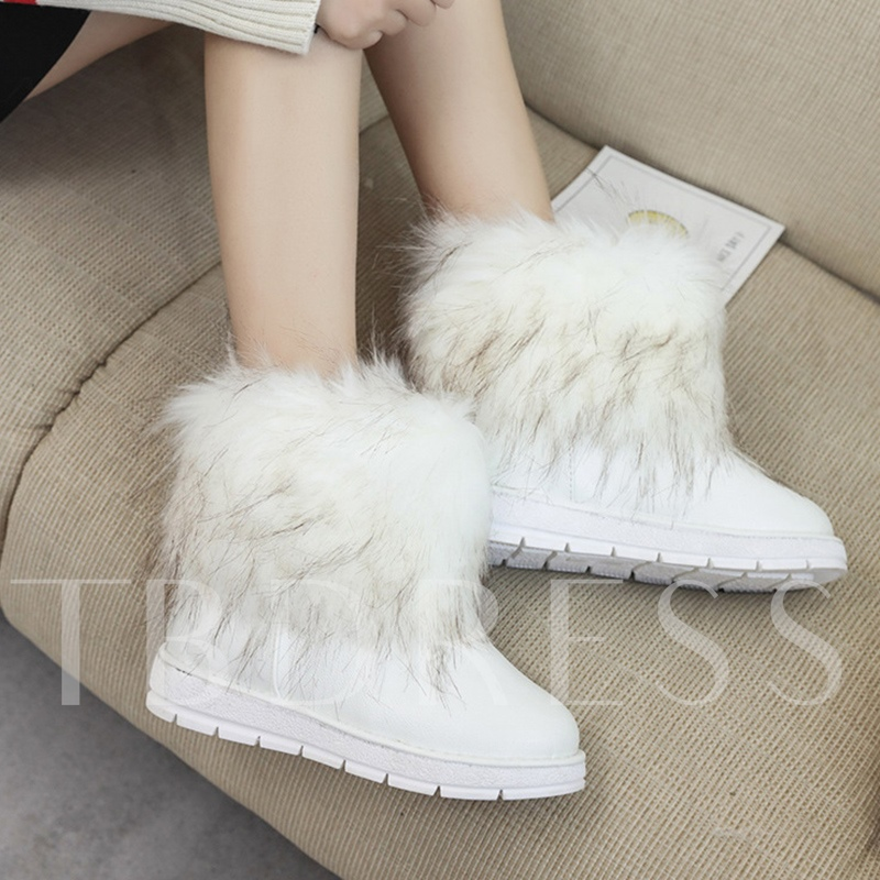 Wedge Heel Slip On Faux Wool Women's Snow Boots