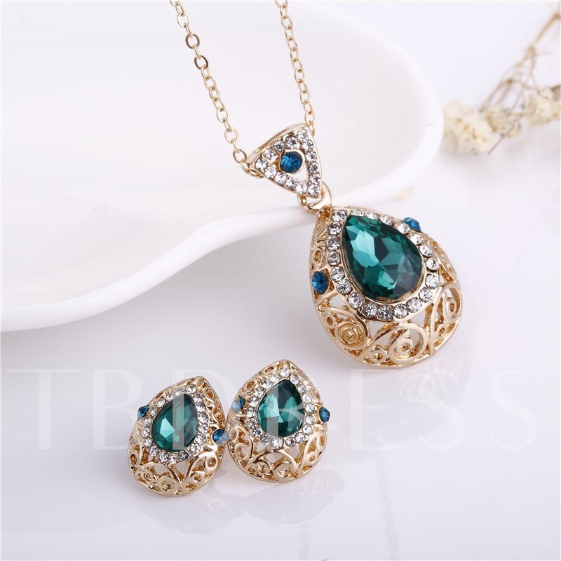 Water Drop Hollow Out Diamante Jewelry Sets