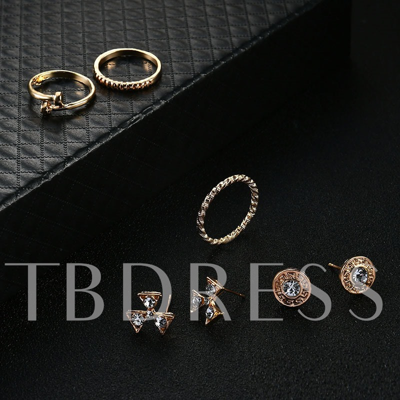Alloy Overgild Diamante Simple Earrings&Rings Jewelry Sets