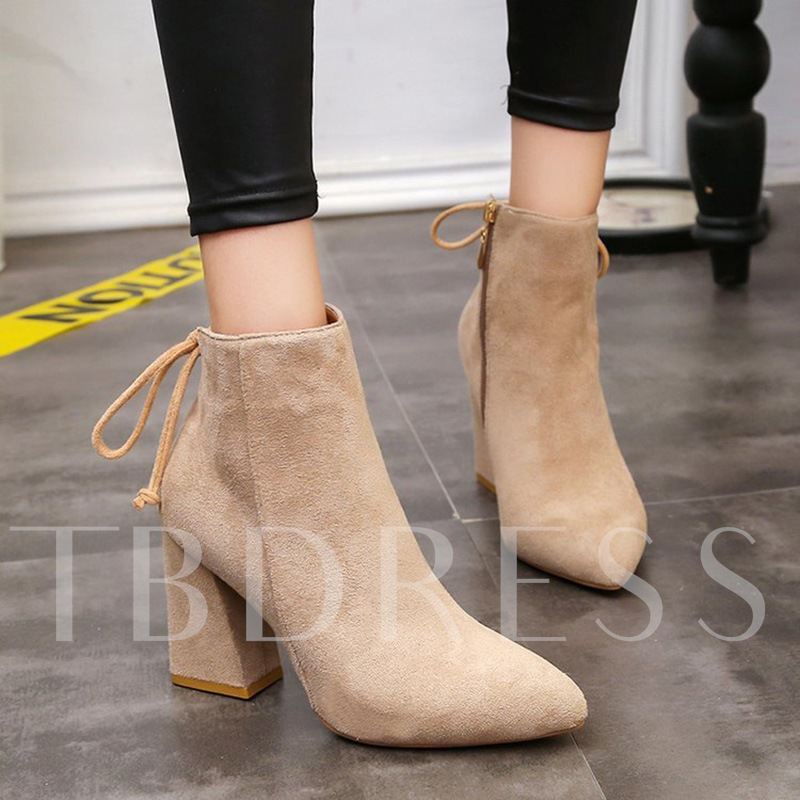 Yellow Ankle Boots Lace-Up Zipper Chunky Heel Shoes