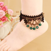 Rhinestone Black Alloy Lace Anklet