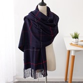 Plaid Tassel Imitated Cashmere Warmth Scarfs