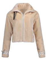 Slim Lapel Plain Zipper Women's Jacket