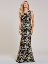 Scoop Neck Appliques Lace Mermaid Evening Dress
