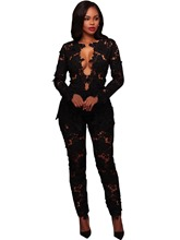 Hollow Lace Straight Women's Jacket Pants Suit