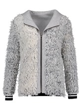Hooded Faux Wool Blends Reversible Zipper Women's Jacket