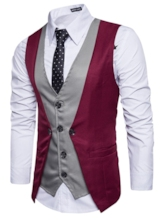 V-Neck Fake Two Piece Color Block Patchwork Single-Breasted Slim Fit Men's Vest
