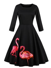 Black Back Zipper Animal Pattern Women's Day Dress