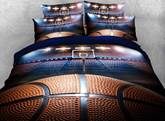 Shooting a Basketball in Empty Basketball Court Printed 3D 4-Piece Bedding Sets