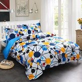 Blue Spotted Flashbulb Printed Modern Style 4-Piece Cotton Bedding Sets