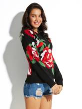 Flower Printed Loose Round Neck Women's Sweater