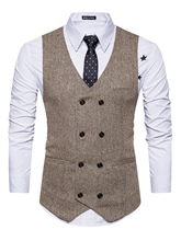V-Neck Double-Breasted Vintage Slim Fit Plain Woolen Men's Casual Vest