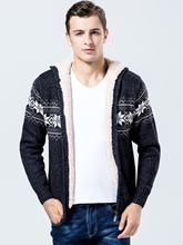 Hooded Thicken Warm Floral Printed Knit Men's Pullover Sweater