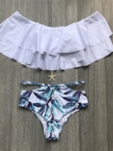 Off-The-Shoulder Falbala High-Waist Tankini Set