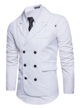 Notched Collar Double-Breasted Stripe Slim Fit Men's Vest