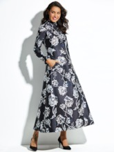 Stand Collar Single-Breasted Floral Women's Trench Coat