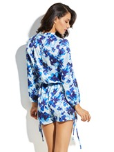 Slim Floral Print Lace-Up Vacation Women's Rompers