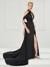 A-Line Draped Open Shoulder Split-Front Evening Dress