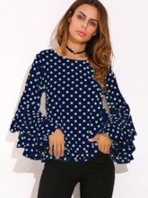 Polka Dots Round-neck with Ruffle Sleeve Women's Blouse