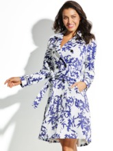Notched Lapel Moroccan Tiles Floral with Belt Vacation Women's Trench Coat