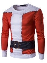 Round Collar 3D Christmas Printed Slim Fit Men's Long Sleeve T-Shirt