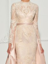 A-Line Button Lace Long Sleeves Scoop Watteau Train Evening Dress