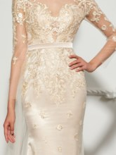 Trumpet Appliques Button Scoop Evening Dress
