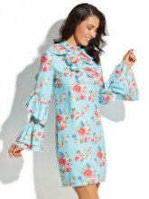 Blue Floral Lapel Women's Long Sleeve Vacation Dress