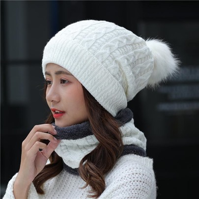 Plus Velvet Keep Warm Knitted Scarf&Hats