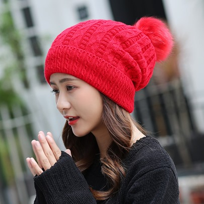 Solid Color Fuzzy Ball Stripe Knitted Hats