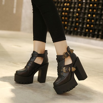 Women's Platform Shoes Buckle Hollow Black Boots