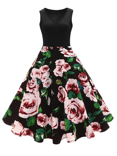 Sleeveless Flowers Printed Women's Vintage Dress