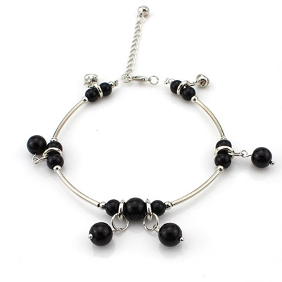 Black Agate Silver Plated Ethnic Anklet