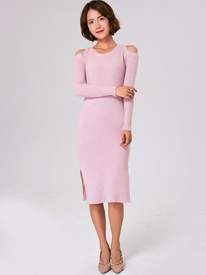 Plain Cold Shoulder Women's Sweater Dress