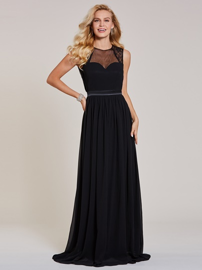 Scoop Neck Backless A Line Black Evening Dress