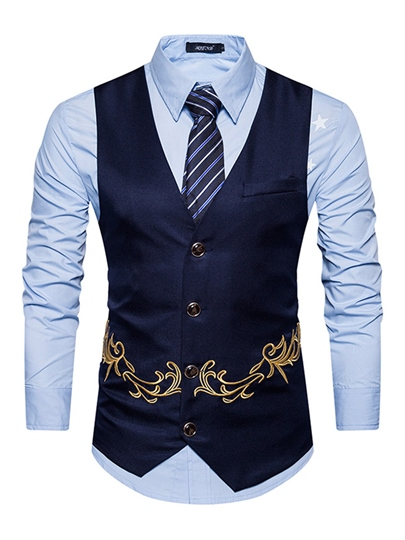 V-Neck Golden Embroidery Slim Men's Casual Vest