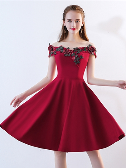 Embroidery Off-the-Shoulder Homecoming Dress