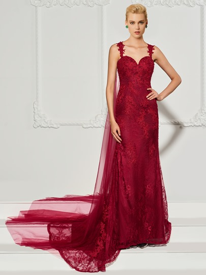 Mermaid Lace Straps Button Sweep Train Evening Dress