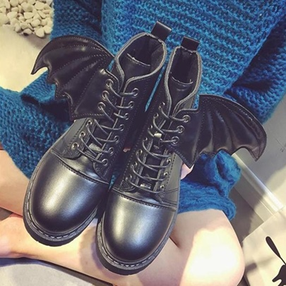 Evil's Wings Halloween Shoes Women's Lace Up Black Martin Boots