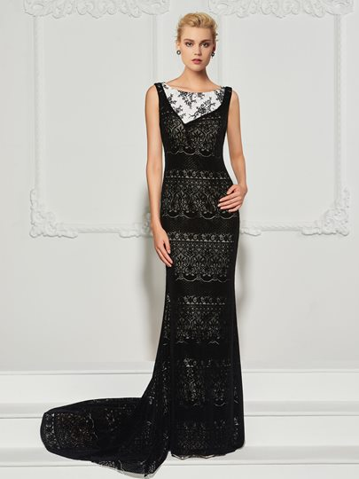 Bateau Lace Trumpet Sleeveless Court Train Evening Dress