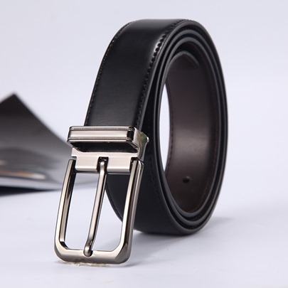Pin Buckle Split Cowhide Rectangle Simple Men's Belts