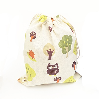 Hand Painted Design Cotton String Backpack