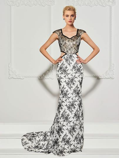 Mermaid V-Neck Cap Sleeves Lace Sweep Train Evening Dress