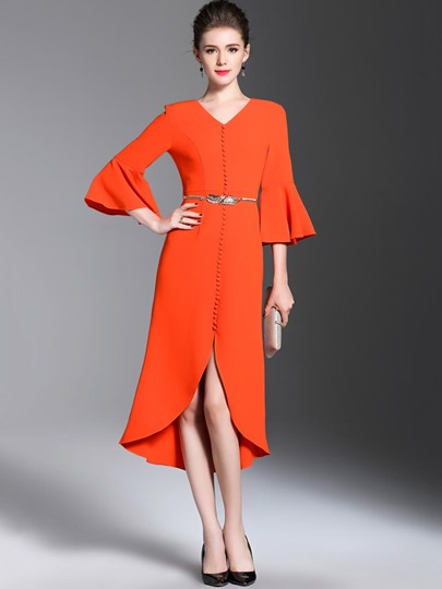 Orange Red Single-Breasted Women's Maxi Dress