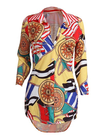 Dashiki Lapel Color Printed Patchwork Slim Women's Blouse