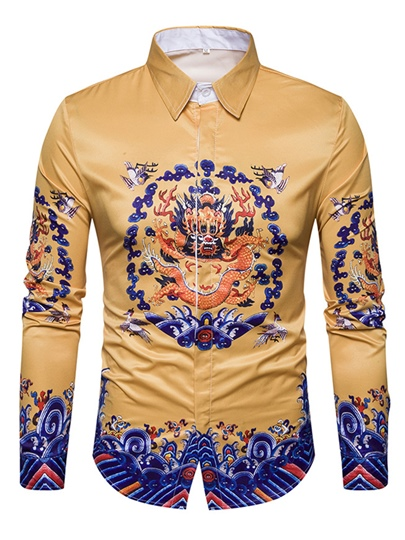 Single-Breasted Ethnic Dragon Print Slim Fit Men's Shirt