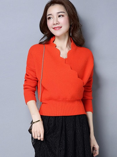 V-neck Short Pullover Women's Sweater