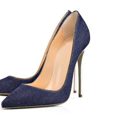 Pointed Toe Stiletto Heel Sewing Thread Pumps