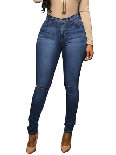 Elastic High-Waist Worn Hole Women's Jeans